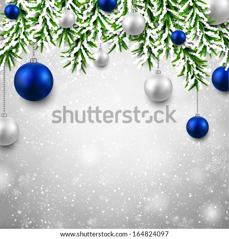 Christmas background with fir twigs and blue balls. Vector illustration.