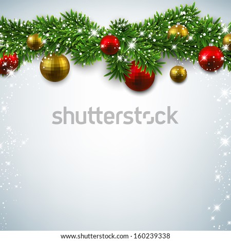 Christmas background with fir twigs and colorful balls. Vector illustration.  - stock vector