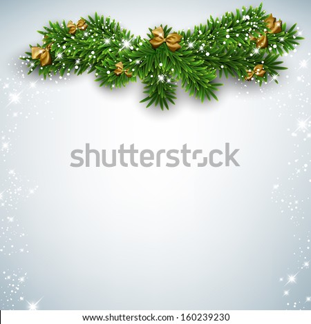 Christmas background with fir twigs and golden bows. Vector illustration.  - stock vector