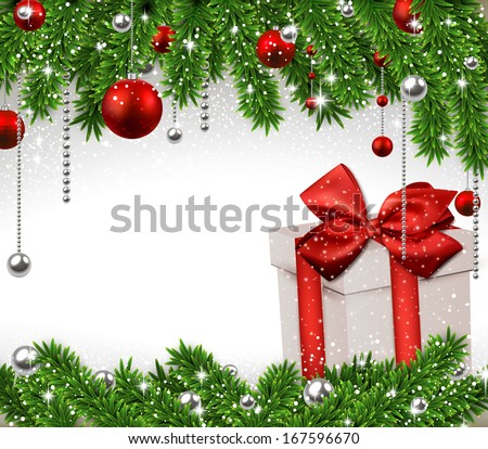 Christmas background with fir twigs, red balls and gif box. Vector gift boxes.  - stock vector