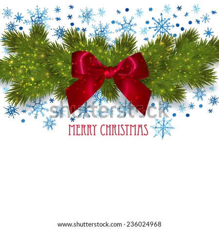 Christmas background with fir twigs, watercolor snowflakes and red bow. Vector illustration.
