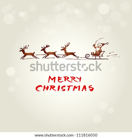 Christmas background with funny Santa - stock vector