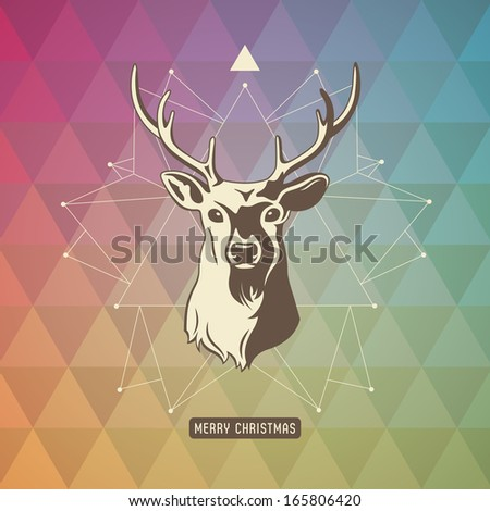christmas background with geometrical pattern, three-dimensional star-shape and deer - stock vector
