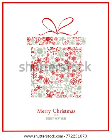 Christmas background with gift box created form snowflakes on white background. Vector