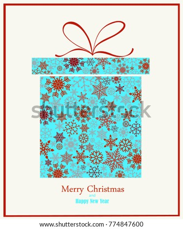Christmas background with gift box created form snowflakes. Vector