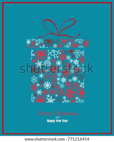 Christmas background with gift box created form snowflakes. Vector card in blue and red tones