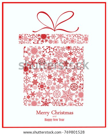 Christmas background with gift box made of snowflakes. Vector in red and white tones