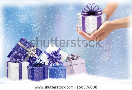 Christmas background with gift boxes. Concept of giving presents. Vector illustration.  - stock vector