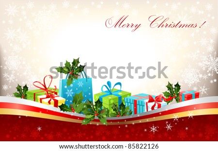 Christmas background with gifts - stock vector