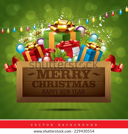 Christmas Background with gifts,lights and wooden tablet - stock vector