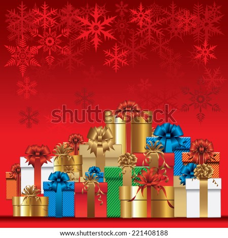 Christmas background with gifts. Vector illustration - stock vector