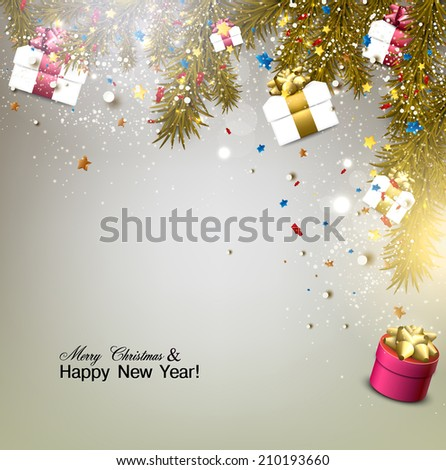Christmas background with gifts. Xmas boxes with bows and Christmas tree.  Vector Illustration. - stock vector