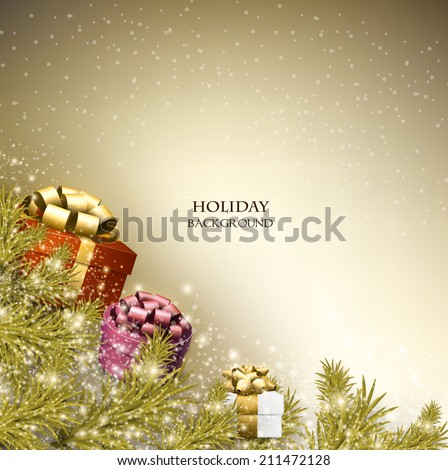 Christmas background with gifts. Xmas boxes with bows and place for text.  Vector Illustration. - stock vector