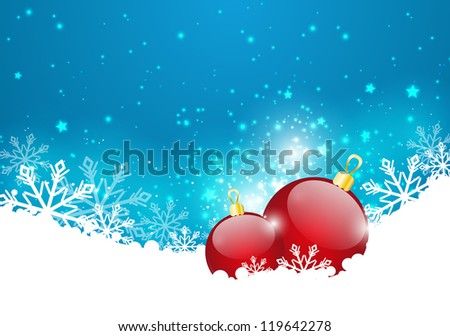 Christmas background with glossy balls