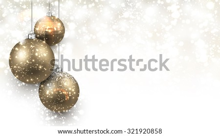 Christmas background with gold balls. Vector Illustration. - stock vector
