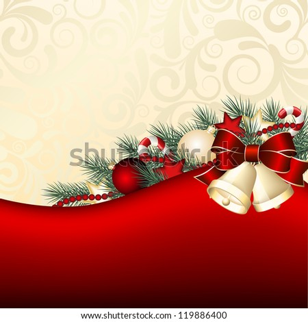 Christmas background with gold bells.  Vector illustration - stock vector