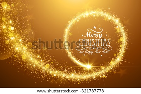 Christmas background with gold magic star. Vector illustration - stock vector