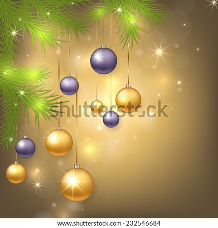 Christmas background with golden and purple balls. Colorful Xmas baubles. Vector illustration. - stock vector