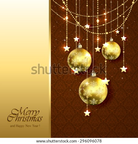 Christmas background with golden balls, stars and decorative elements on brown wallpaper, illustration. - stock vector
