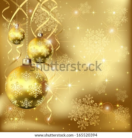 Christmas background with golden baubles and snowflakes, illustration.