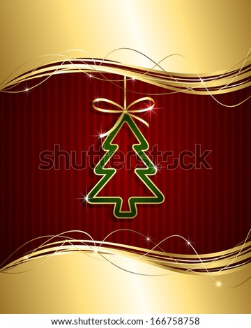 Christmas background with golden ribbon and green Christmas tree, illustration. - stock vector