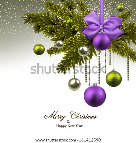 Christmas background with green fir twigs and purple balls. Vector illustration.  - stock vector