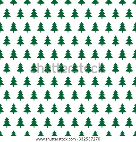 Christmas background with green trees in a row on a white background - stock vector