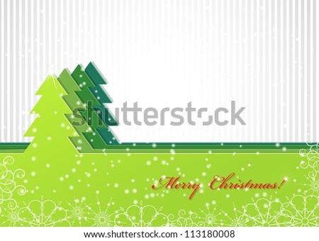 Christmas background with green trees. Invitation card - stock vector