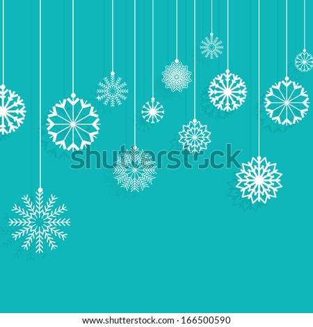 Christmas background with hanging snowflakes - stock vector