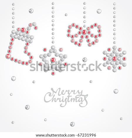 Christmas background with holiday symbols silhouettes composed of crystals - stock vector