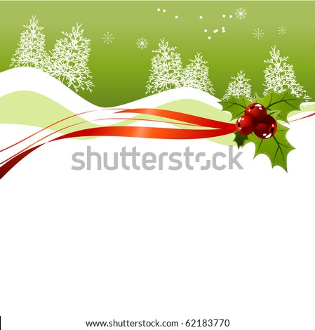 Christmas background with holly - stock vector
