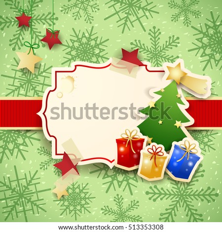Christmas background with label, tree and gifts. Vector illustration