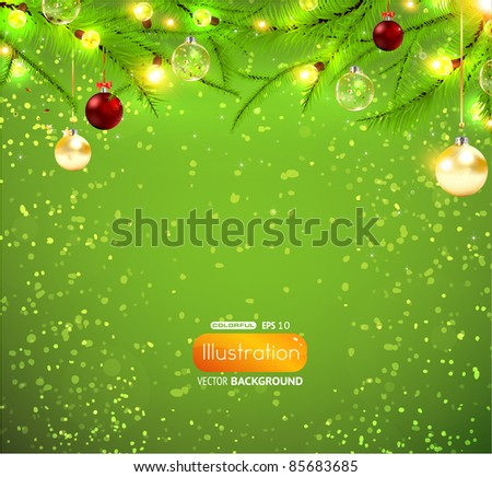 Christmas background with lamp garland, christmas fur tree and balls for xmas design. EPS10 vector. - stock vector