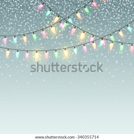 Christmas background with lights and snow. Vector illustration EPS10