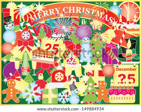 Christmas background with mix of Xmas symbols