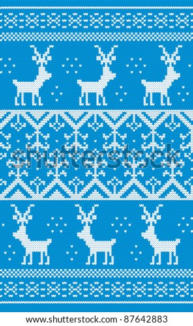 Christmas background with Norwegian pattern - stock vector