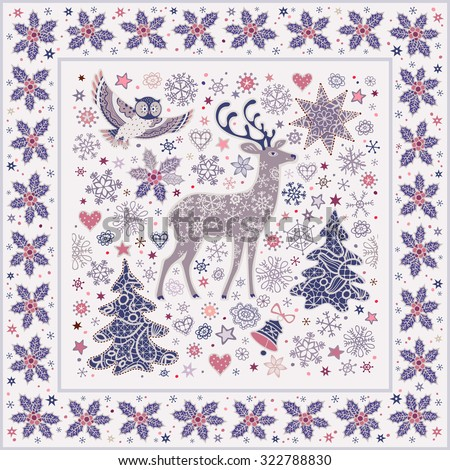 Christmas background with owl, deer, lacy xmas trees, moon, stars, bells, snowflakes and sprigs of holly frame. Vector pattern. - stock vector