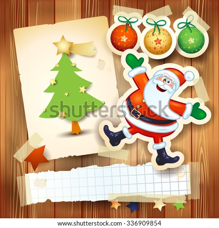 Christmas background with postcard and funny Santa Claus. Vector illustration  - stock vector