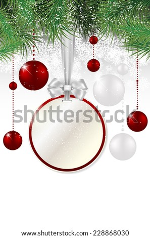 Christmas background with price tag, christmas balls, spruce and snowflakes - vector illustration - stock vector