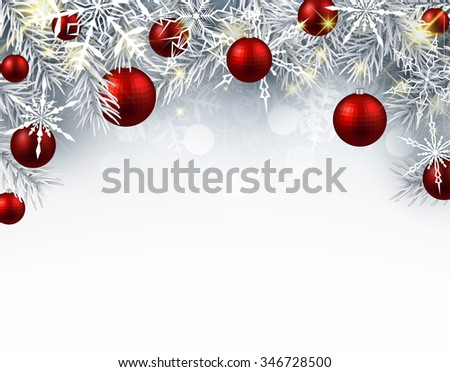 Christmas background with red balls. Vector paper illustration. - stock vector