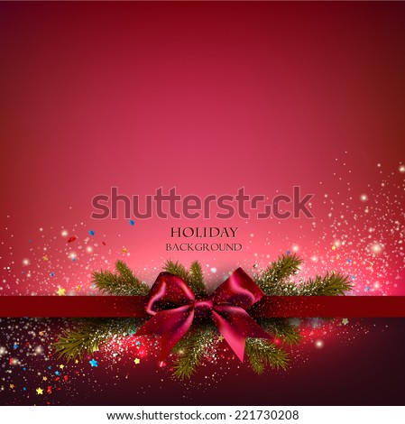 Christmas background with red bow and fir twigs garland. Vector illustration. - stock vector