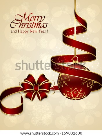 Christmas background with red bow, ribbon and bauble, illustration. - stock vector