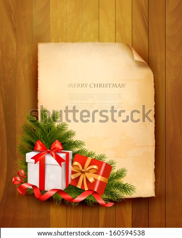 Christmas background with red gift ribbon with gift boxes and old paper. Vector - stock vector