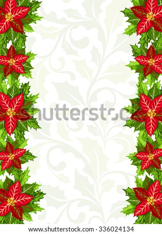 Christmas background with red poinsettia and holly leaves decoration elements. Vertical banner with border and ornamental copy space - stock vector