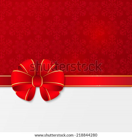 Christmas background with red ribbon - stock vector