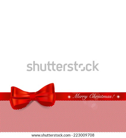 Christmas background with red ribbon and bow. Vector illustration. - stock vector