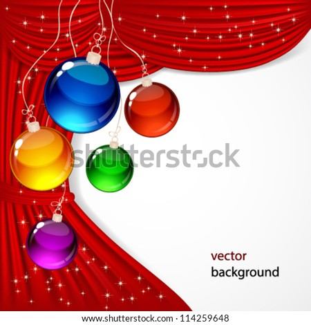 Christmas background with red satin and balls. - stock vector