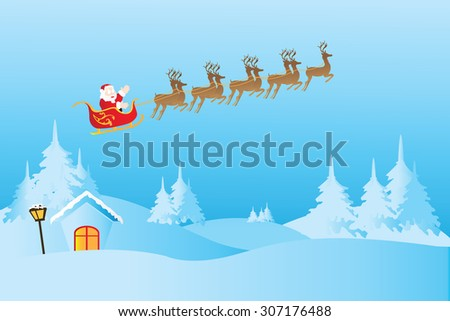Christmas background with reindeer and Santa Claus, vector illustration. - stock vector