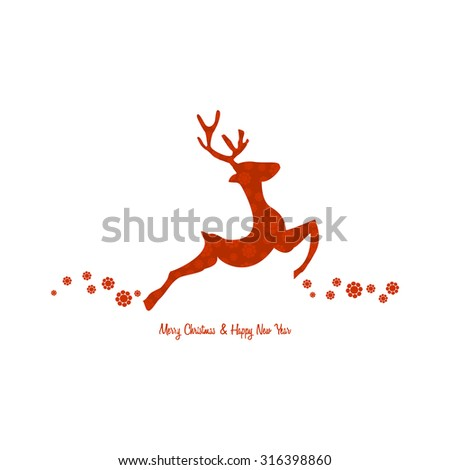 Christmas background with reindeer decorated, vintage style - stock vector