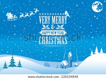 Christmas background with Retro Label, Tree, Santa, House, Bullfinch. Vector Template for Cover, Flyer, Brochure. - stock vector
